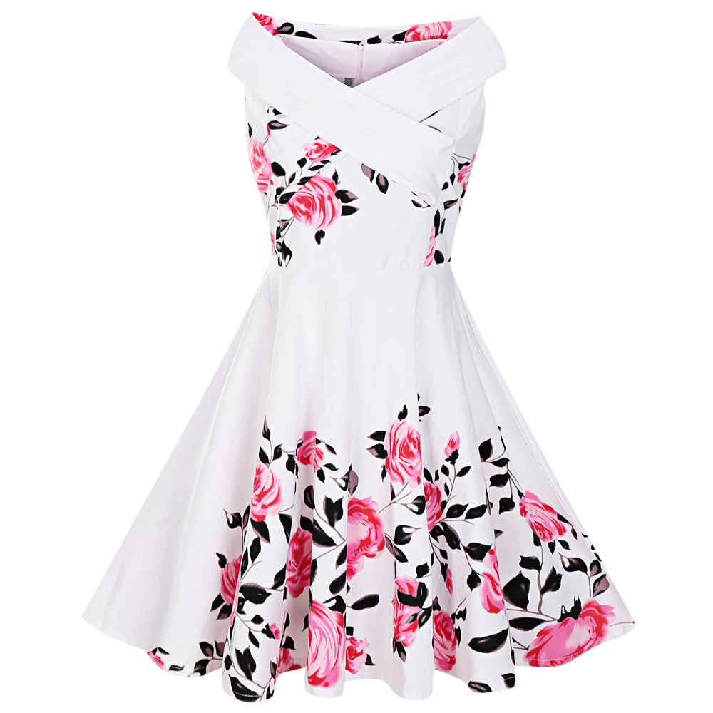 Kenancy Plus Size Criss Cross Floral Print Retro Pin Up Dress Women Vintage  1950s V- 97ea46d8a0c0