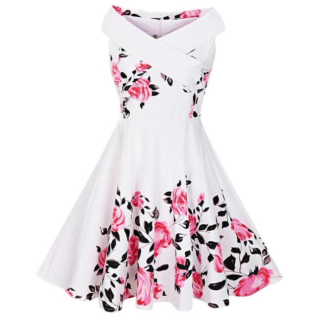 1859d0bd00b00 Kenancy Plus Size Criss Cross Floral Print Retro Pin Up Dress Women Vintage  1950s V-Neck Sleeveless Ladies Party Dress 5XL