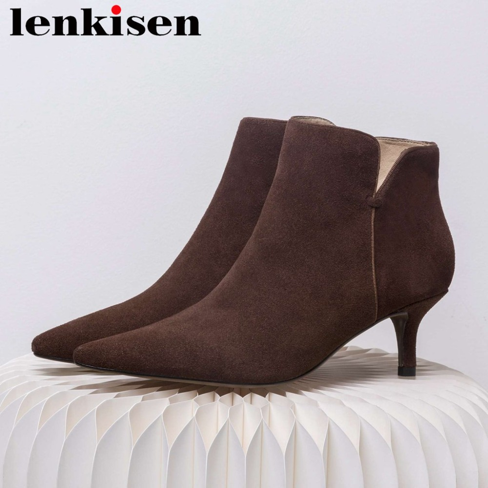 Lenkisen vintage genuine leather pointed toe woman high quality thin high heels metal zipper solid party short chelsea boots L97Lenkisen vintage genuine leather pointed toe woman high quality thin high heels metal zipper solid party short chelsea boots L97