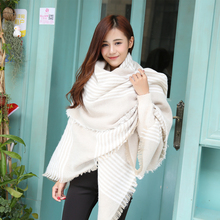2015 new za winter plaid scarf women new worsted cashmere beige cozy checked blanket oversized wrap