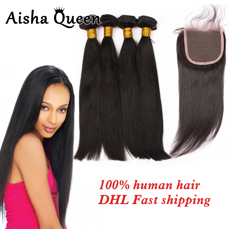 Aisha Queen Straight Brazilian Human Hair 4 Bundles with 1 Lace Closure 4x4 Natural Black Remy Hair ...