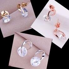 Austrian Crystal Rhinestone Zircon Stud Earrings Silver Plated Earrings Korean Vintage Fashion Luxury Fine Jewelry E271