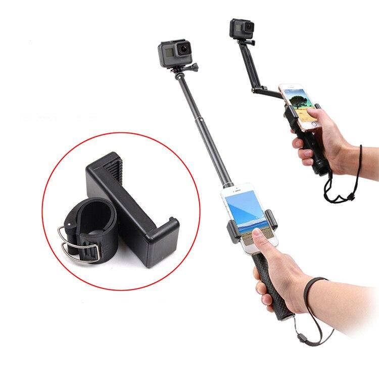 Self Selfie lock Clip Stick Handheld Monopod Adjustable Buckle Phone Holder Adapter for Gopro HERO 7 6 5 4 8 xiaomi yi 4K SJCAM