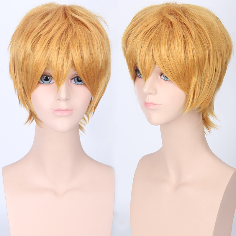 Coshome Naruto One Piece Fairy Tail Bleach Yato Cosplay Short Wig For Men Women Black Brown Yellow Red Blue Wigs (19) -