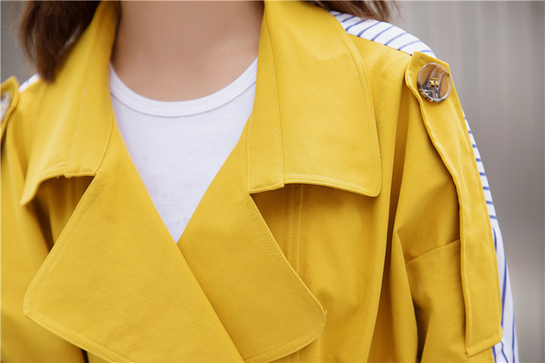 Korean Women Clothes 18 Autumn Windbreaker Female Long Coat New Style Striped Stitching Yellow Winter Trench Coat 14