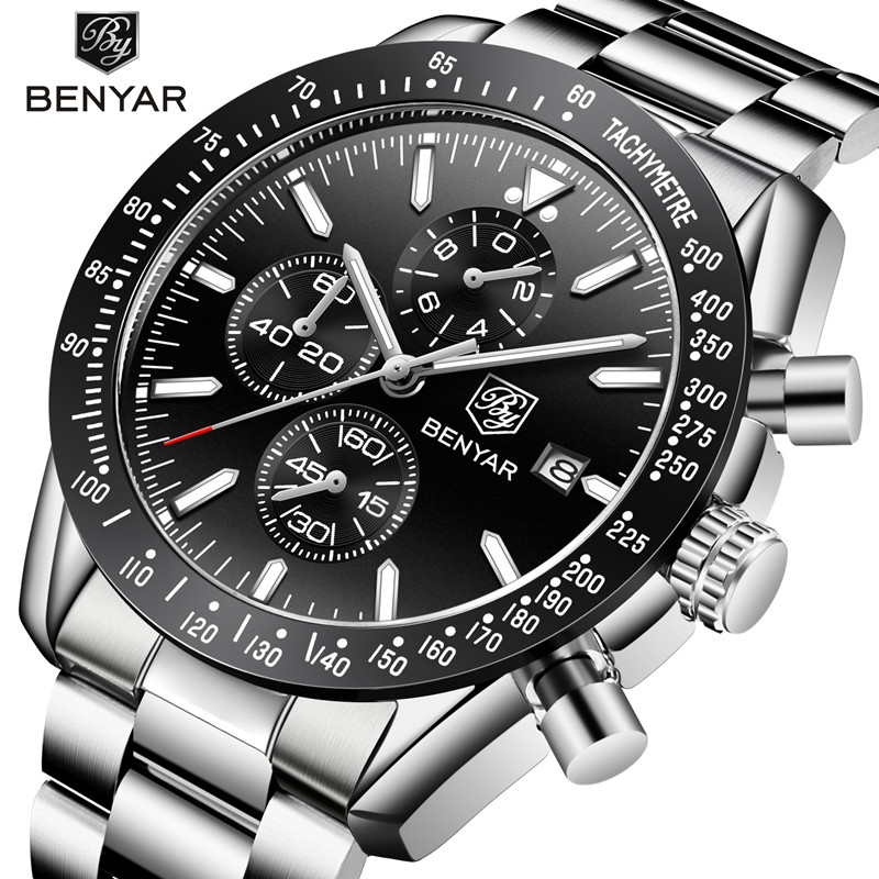 Men Watches BENYAR Casual Fashion Full Steel Quartz Top Brand Luxury Watch Men Waterproof Sports Watches Clock Relogio Masculino gimto brand sports quartz watch men fashion casual luxury military watch steel waterproof men s watches clock relogio masculino