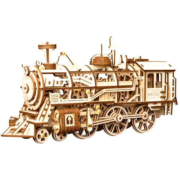 DIY Clockwork Locomotive 3D Wooden Steam Train Model Building Blocks Kits Toy Educational Toy Room Office Decor Creative Gift