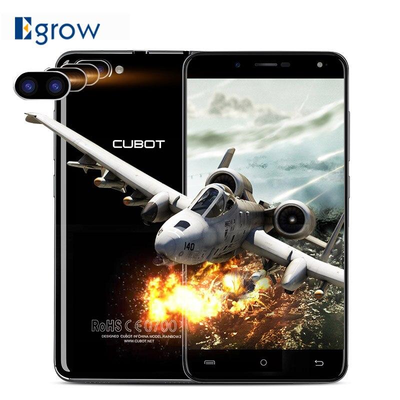 bilder für Original Cubot Regenbogen 2 Dual Zurück Kamera Handy MTK6580A Quad Core 5,0 Zoll HD Smartphone Android 7.0 1G + 16G Zelle handys