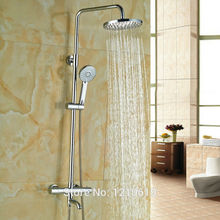 Newly Chrome Thermostatic Shower Faucet w/ Handheld Shower 8″ Shower Tub Mixer Faucet Wall Mount