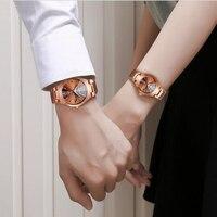 Couple Lovers Quartz Watches Brown Luminous Waterproof Steel Band Watches Luxury Calendar Business Wristwatch For Men