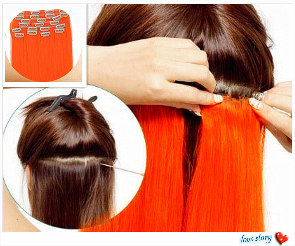 Light Color Neon Orange Hair Straight Clip In Hair Extensions 10 Pcs
