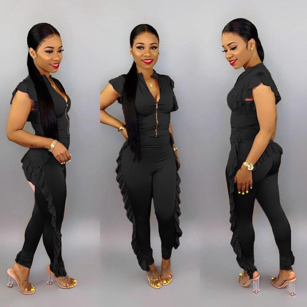 New Arrival Sexy Ruffed Zipper Asymmetrical Solid Short Sleeve Women Jumpsuits Women Rompers Women's Clothing