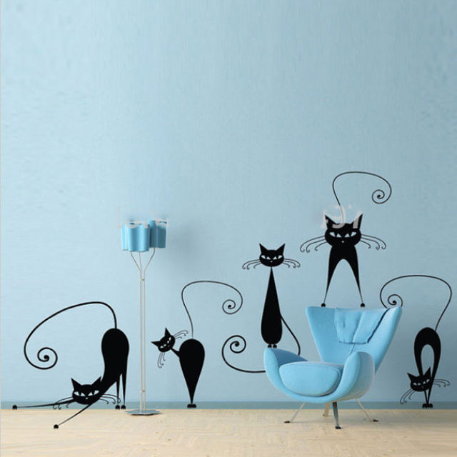 cute cat vinyl wall decal stickers room decoraation art diy abstract