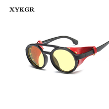 XYKGR 2019 new round steampunk personality sunglasses men's brand designer black sunglasses UV400 ladies fashion glasses markus lupfer kn1999