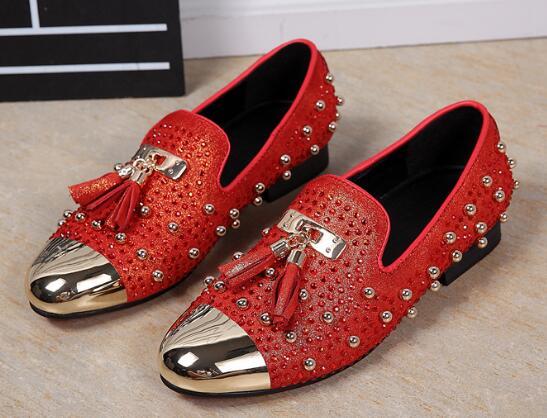 Прямая доставка Мода с бахромой и заклепками, модная обувь для вечеринок Для мужчин Элитный бренд дизайн Повседневное обувь, мужские лоферы... - 4