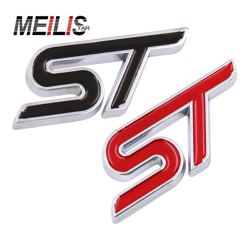 New Metal ST Logo Chrome Metal Refitting Styling Car Emblem Badge Auto Exterior Decal 3D Sticker Emblem for Ford Focus ST Mondeo mayitr metal 3d black limited edition sticker universal car auto body emblem badge sticker decal chrome emblem car styling