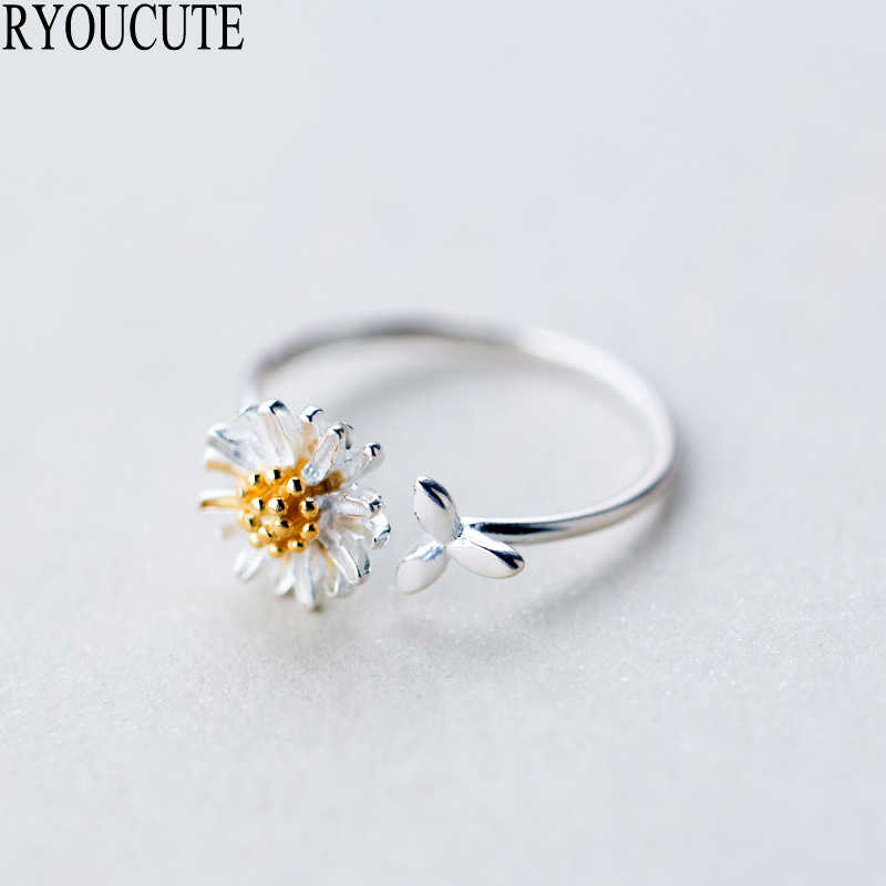 New 925 Sterling Silver Daisy Flower Rings for Women Adjustable Size Rings Fashion Wedding Jewelry Anillos Mujer