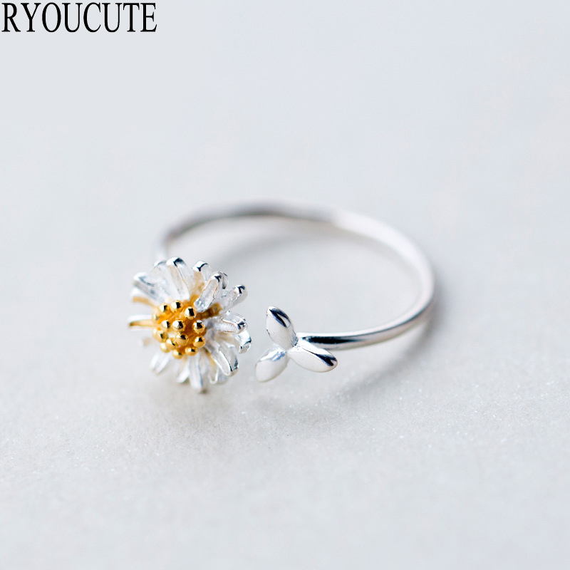 New 925 Sterling Silver Daisy Flower Rings for Women Adjustable Size Rings Fashion Wedding Jewelry Anillos Mujer(China)
