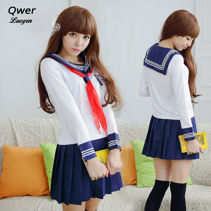 Girls <font><b>Japanese</b></font> <font><b>School</b></font> <font><b>Uniforms</b></font> for JK Sailor Long Sleeve T Shirt Preppy Style College <font><b>Sexy</b></font> Suit Skirt Female Cosplay Costume image