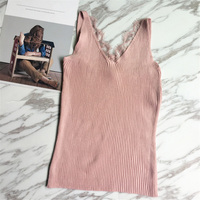 Strapped Girl Slim Fit Lace Patchwork Cami Ladies Basic Vest Women Tops Tank Skinny Stretch