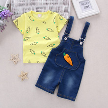 2017 new Baby Boys Kid Sports Wear Tracksuit Outfit cartoon girls Suit Summer kids boys clothes sets carrots print t shirt+jeans