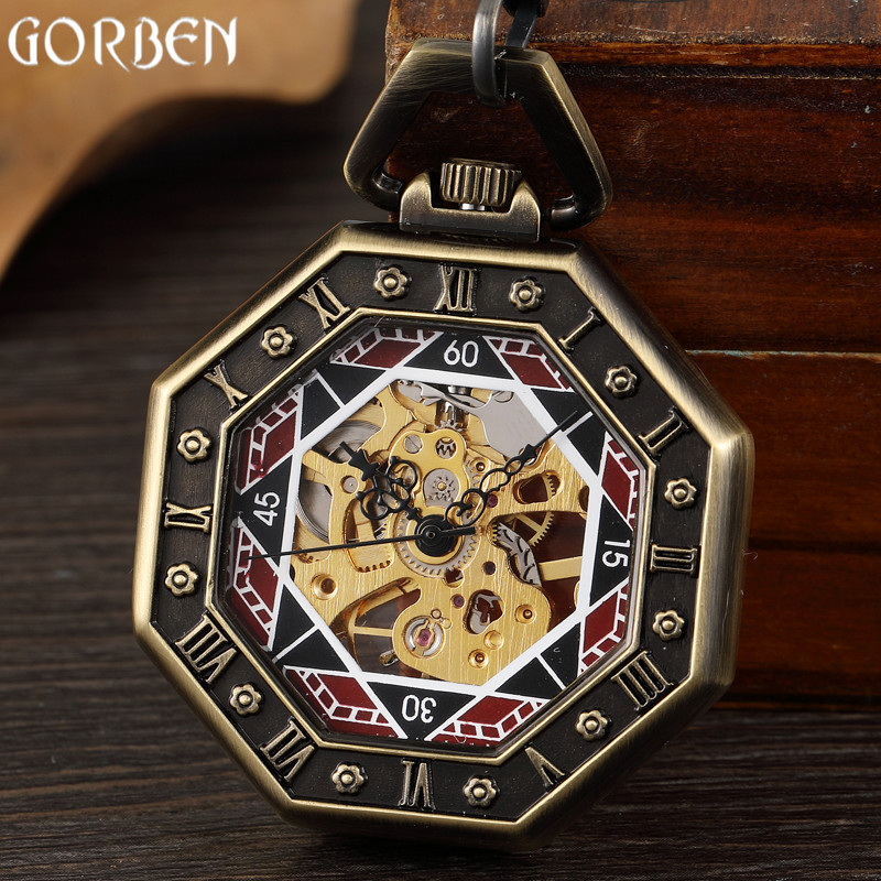 Retro Unique Hexagonal Roman Number Pocket Watch FOB Chain Steampunk Poker New Steel Mechanical Hand-winding Bronze Pocket Watch