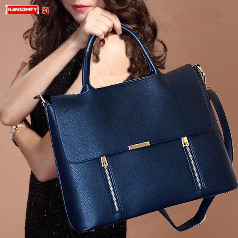 2019 New Women's Briefcase Female 14 Inch Laptop Portable Handbag Large-capacity Shoulder Bag Business Leather Crossbody Bags