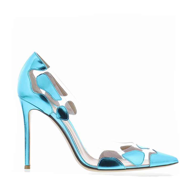 Pointu bleu Chaussures De Noir Bout Partie 2019 Femme Pompes Hauts Femmes rouge Pvc Profonde Printemps Talons Nouveau Wetkiss Transparent Peu 5AjLR34