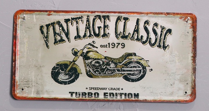 1pc Motorcycle Classic Turbo Mechanic plaques Tin Plate Sign wall man cave Decoration Poster metal vintage retro shabby decor