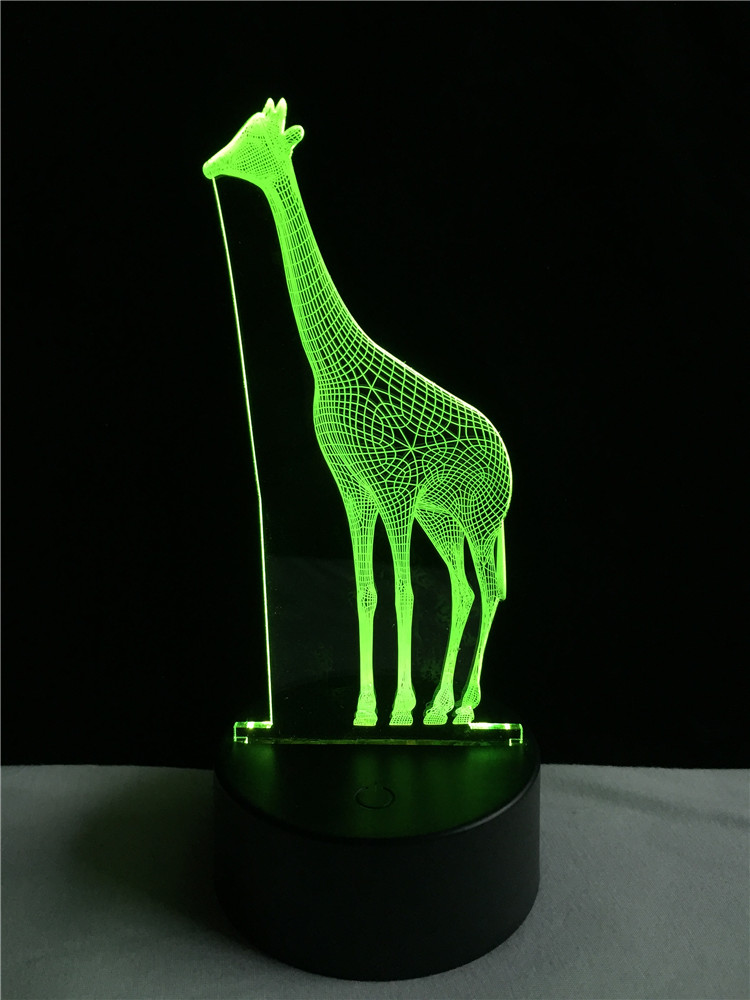 Amusing 3D African Animal Giraffe Desk Lamp Vision 7 Color Gradient - Night Lights - Photo 4