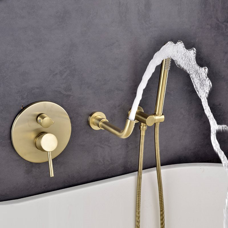 quyanre brushed gold bathtub shower faucet single handle mixer tap with brass handshower wall mount bath shower faucet kit shower faucet2