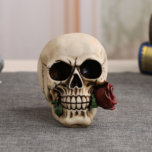 MRZOOT Resin Craft Statues For Decoration Skull Rose Valentines Hotel Love Gift