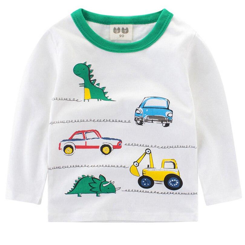 Хлопковые топы Футболки для девочек осень весна автомобиля динозавра дети Bobo для Костюмы детская футболка милый для маленьких мальчиков с ...