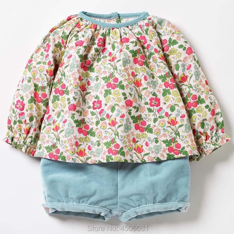 100% Woven Baumwolle t shirt Tees Cord Shorts Baby Mädchen Kleidung Sets Kinder Blume Kinder Anzüge Outfit 2020 Bebe Mädchen 2pc Sets