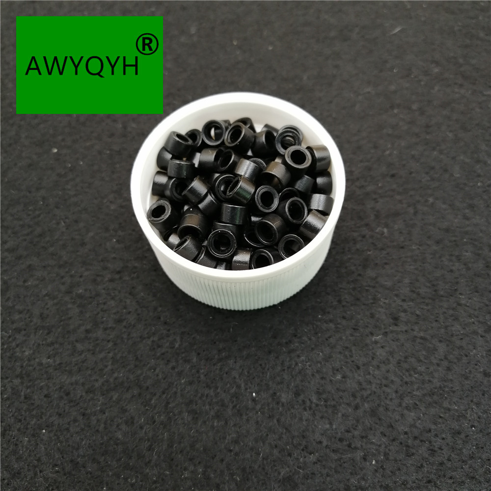 1000pcs 5mm Silicone Lined Micro Rings links beads for I tip hair extension tools