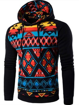 Hoodies Mens Hombre Hip Hop Geometric Print Sweatshirt