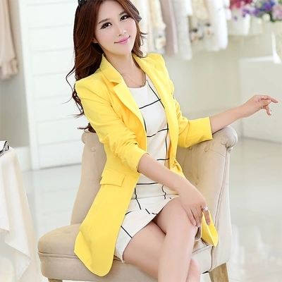 free shipping fashion women suit jacket new spring autumn mid long section Korean slim fit casual blazers women jackets female