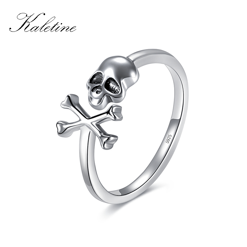 цена на KALETINE 925 Sterling Silver Skull Ring Punk Skeleton for Woman Gothic Skeleton Rings Vintage Oxidized Silver Costume Jewelry