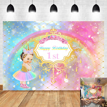 NeoBack Royal Princess 1st Birthday Backdrop Little Unicorn Rainbow Glitter Girls First Banner Photography Background