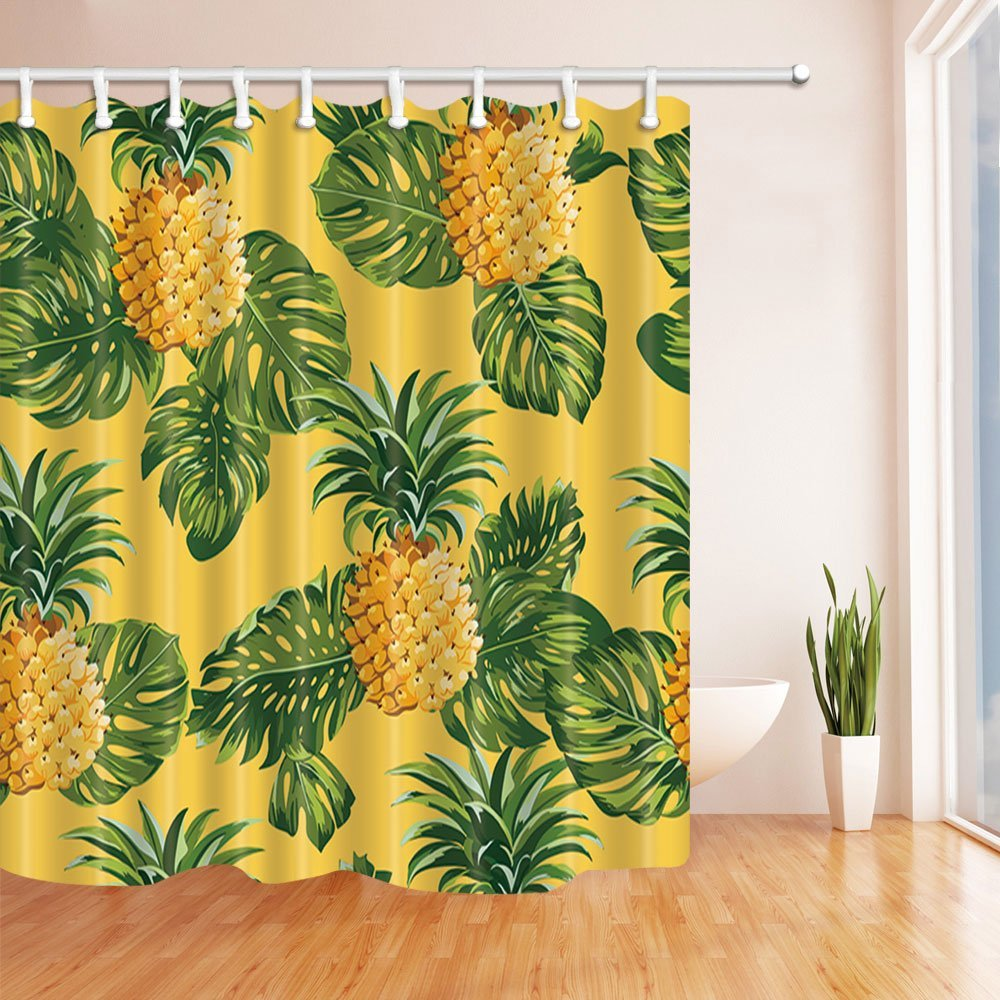 Pineapple Decor Shower Curtains Tropical Fruit Pattern Sharp Against Lemon Yellow Background Bath In From Home Garden
