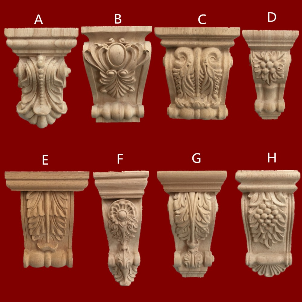 European Unpainted Rubber Wood Carved Corbels Wood Corbel Architectural Furniture Traditional Scroll Acanthus