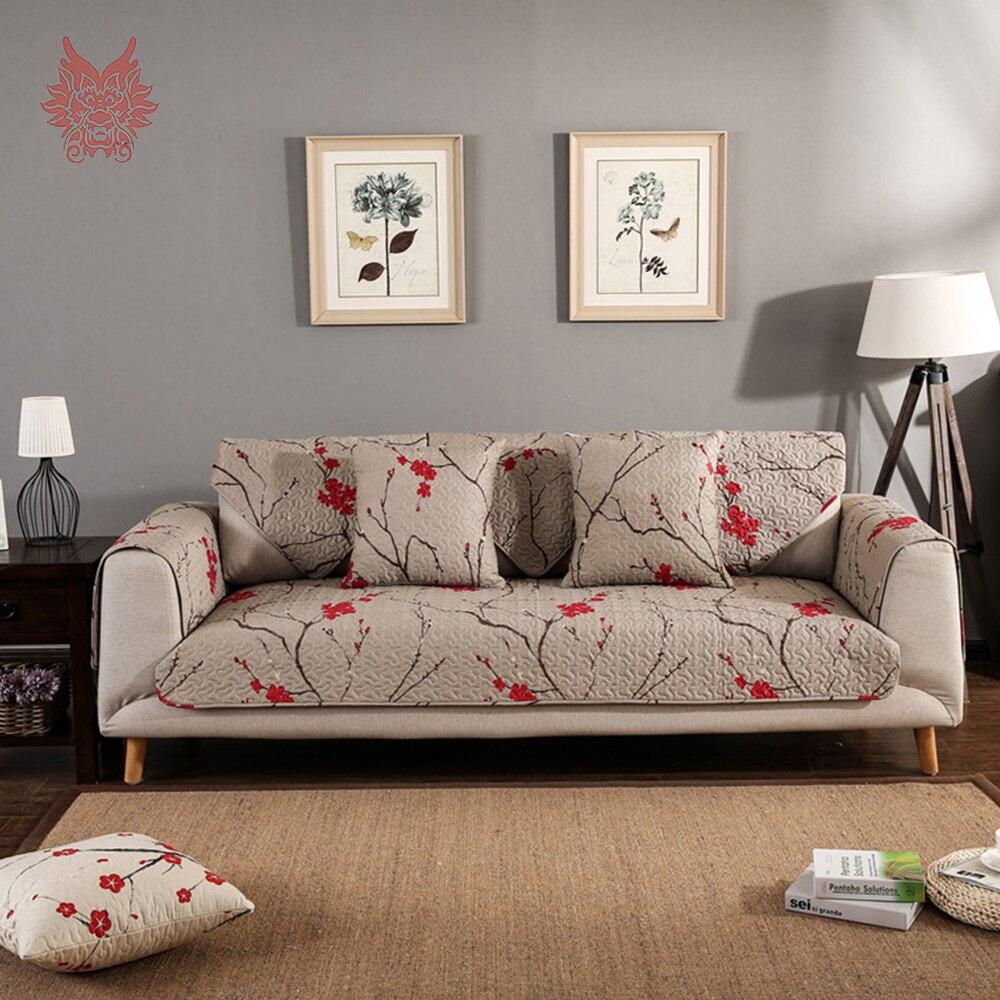 Пастырской стиль цветочный принт хаки 100% чистого хлопка стеганый диван крышка чехлов противоскользящие диван охватывает канапе sp4237 Беспла...