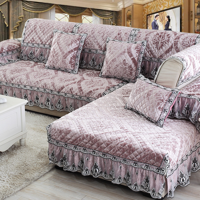 High End Leather Sofa: High End Luxury European Lace Plush Cloth Fabric Living