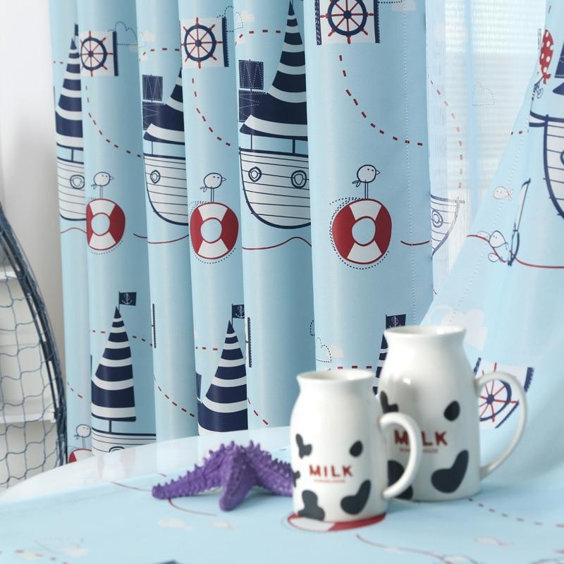 새로운 지중해 항해 모험 만화 어린이 방 커튼 사용자 정의 환경 건강 정전 천 무료 배송