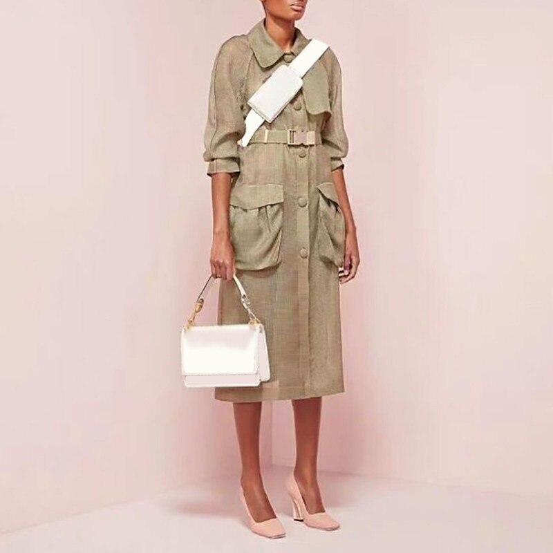 TWOTWINSTYLE Elegante Plaid Jacke Für Frauen Revers Halbe Hülse Taste Mit Schärpen Großen Größe Mantel Weibliche Mode Sommer 2019 Neue-in Trench aus Damenbekleidung bei  Gruppe 1