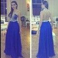 2016 новый сексуальный синий тонкий-линии шифоновое вечерние платья V шеи без рукавов кристалл бисера пром платья ну вечеринку платье Vestido феста 166