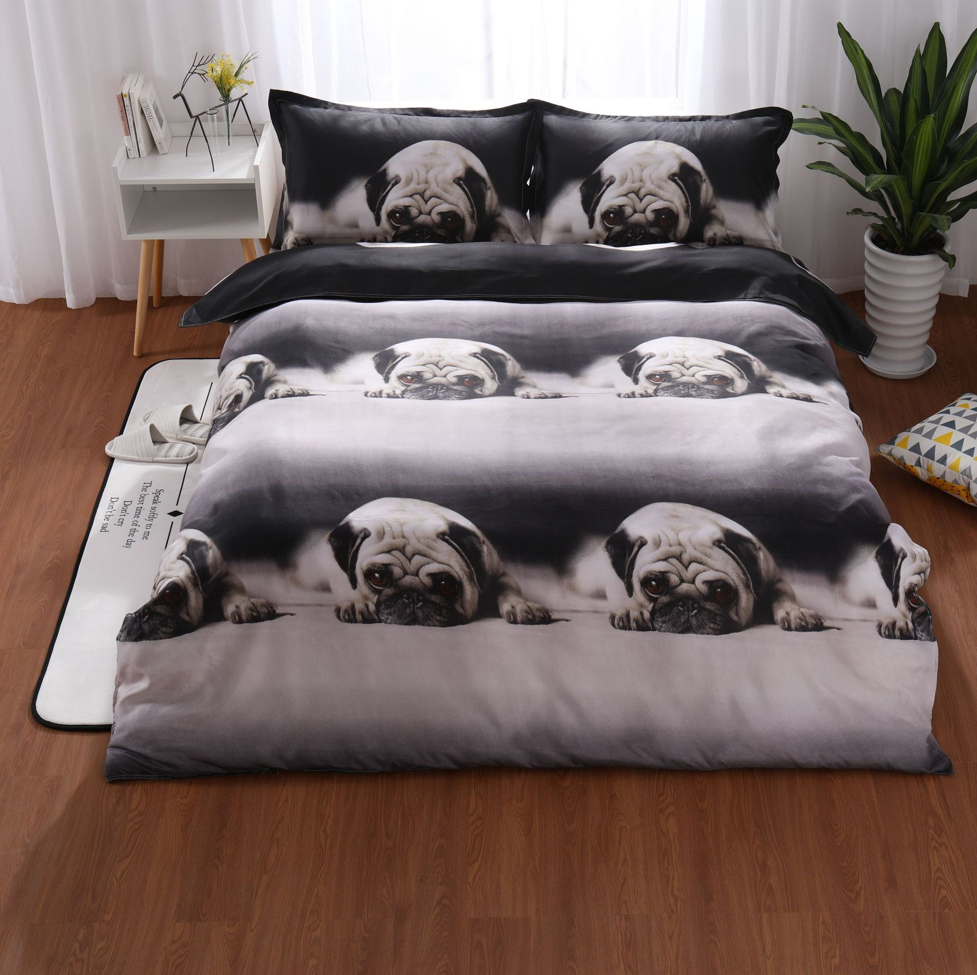 3d Black White Dog Printed Bedding Set Adult Kids Cute Bed Linens Twin Queen King 3pcs Duvet Cover Set with Pillowcases Hot Sale ...