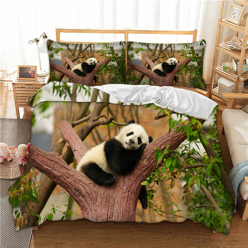 Cute Panda printed Twin Full Queen King AU Single Sizes panda Duvet / Quilt Cover set Pillow Cases bed linens set new 3pcs