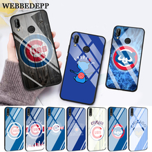 WEBBEDEPP Chicago Cubs Baseball Glass Case for Huawei P10 lite P20 Pro P30 P Smart honor 7A 8X 9 10 Y6 Mate 20