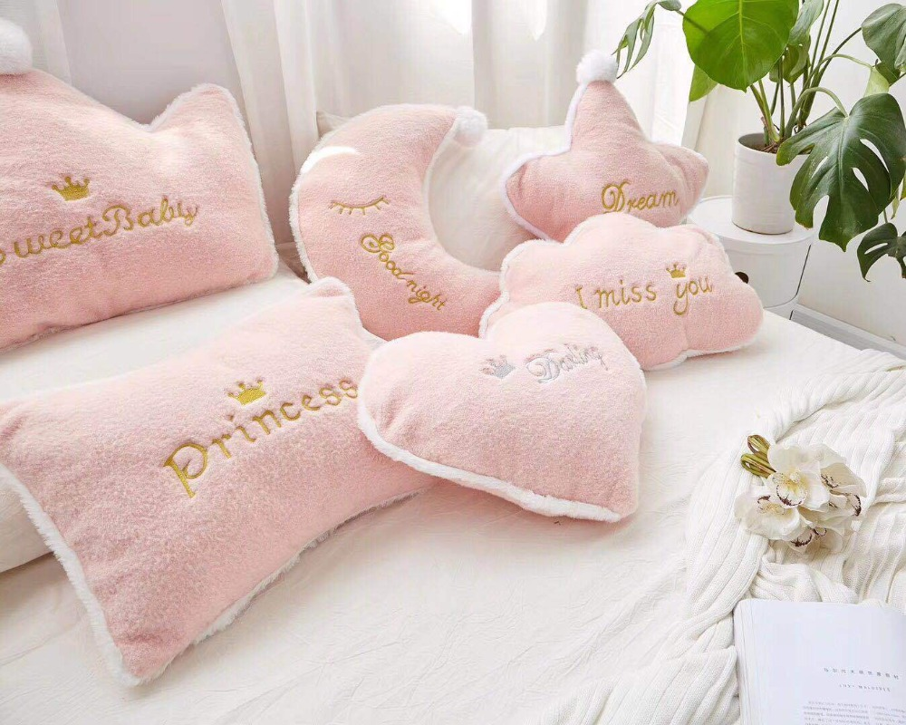 Nordic Pink Cloud Crown Cushion Pillow For Girl For Kids Baby Moon Star Plushed Cushion Pillow For Kids Room Baby Shower Gifts
